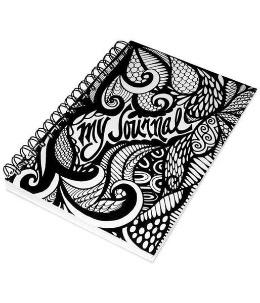 """""""My Journal"""" Black and White Spiral Notebook Journal 200 ..."""