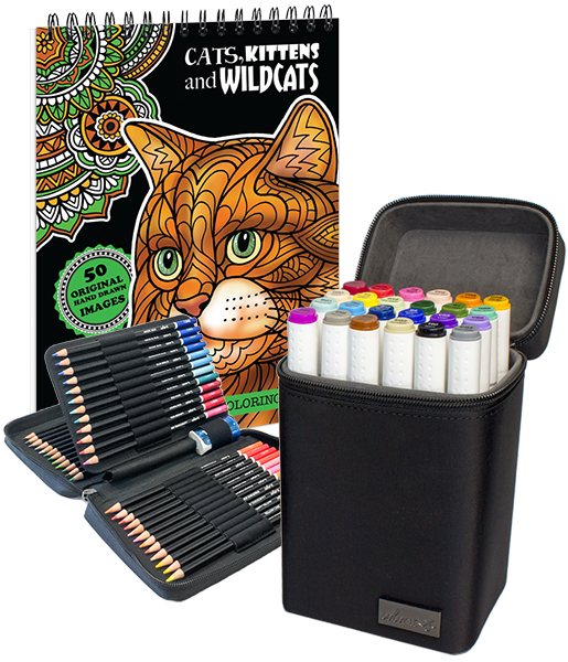 ColorIt Pro Bundle - Cat Book, 24 Markers Set, 48 Colored Pencil Set