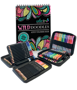 ColorIt Starter Pack - Wild Doodles, 48 Gel Pen Set, 48 Pencil Set