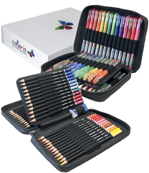 ColorIt Perfect Duo - 48 Gel Pen Set, 48 Colored Pencil Set