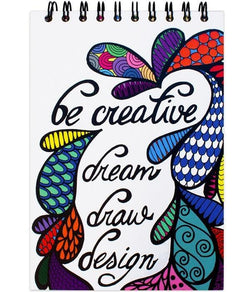 """Be Creative"" Colored 5.5 x 8.5 Hardcover Spiral Sketchpad"
