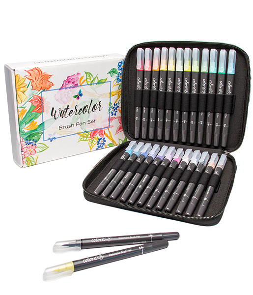 Refillable Watercolor Brush Pens Set Of 24 With Case Colorit