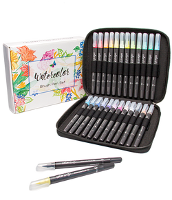 Refillable watercolor brush pens