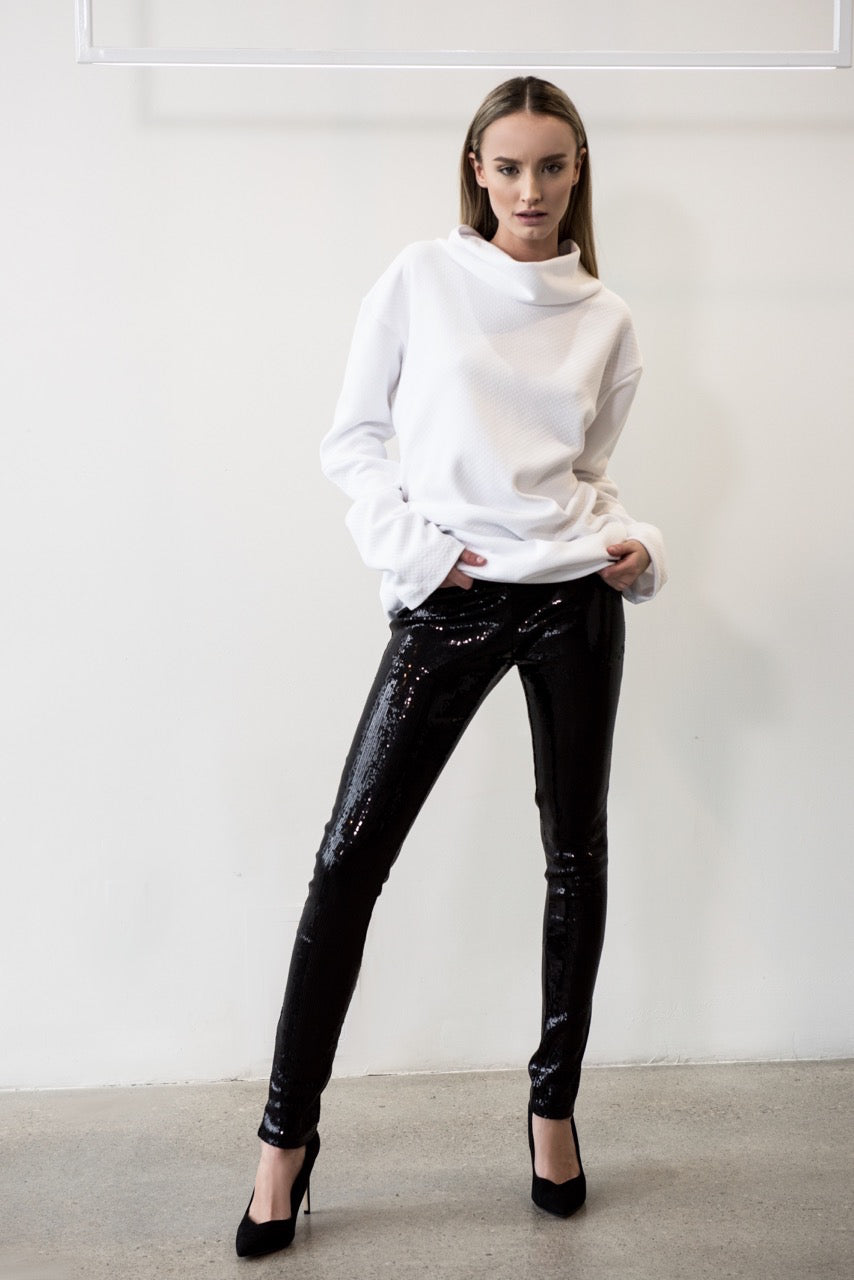 SLIM FIT SEQUIN PANTS