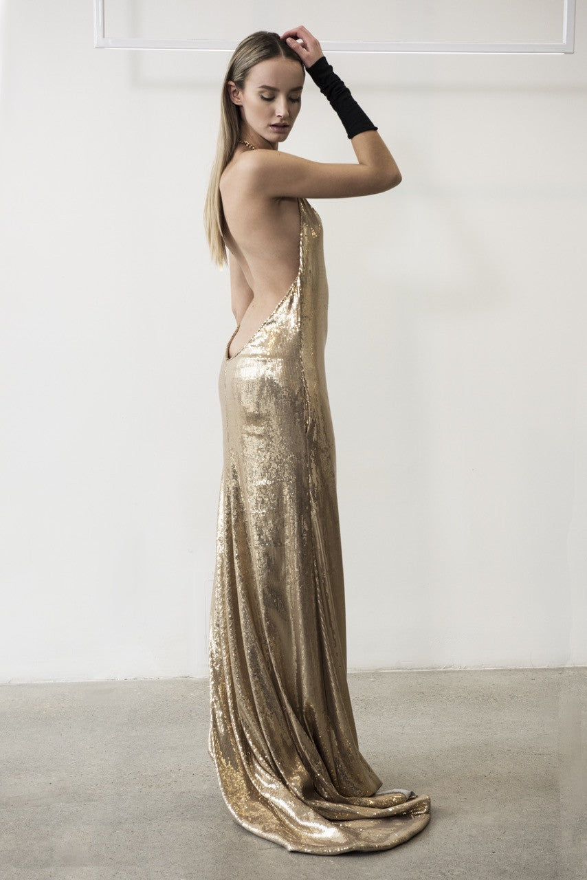 SEQUIN BACKLESS GOWN