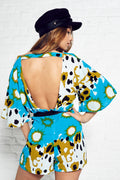 Open Back Printed Playsuit
