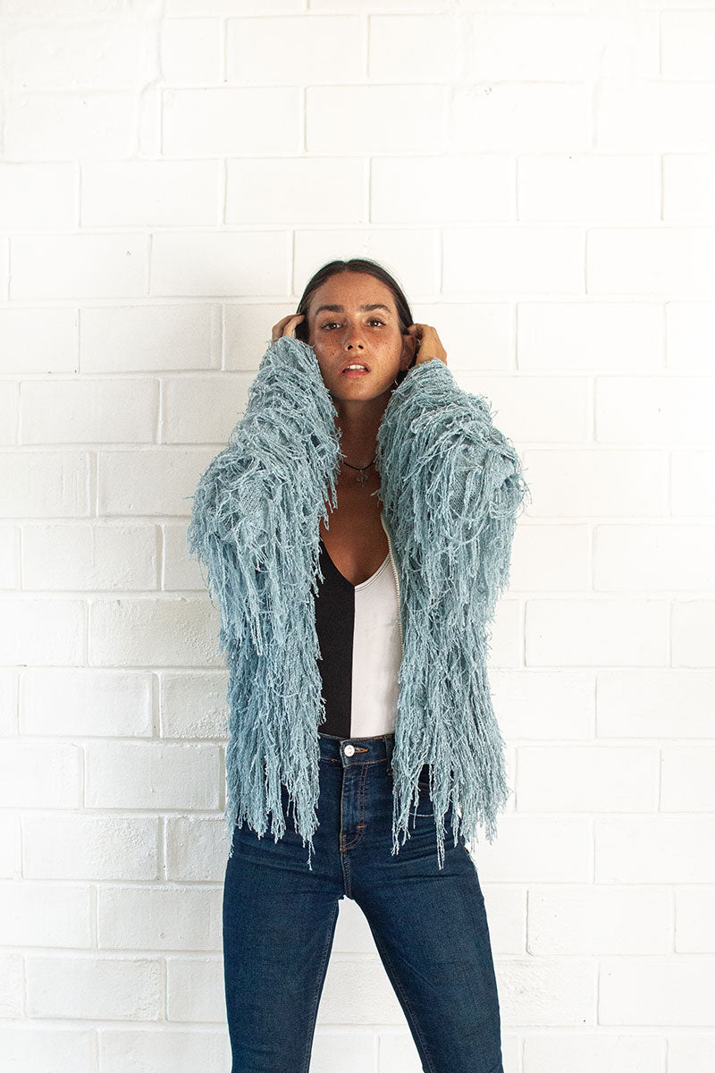 Sky Blue Crop Shaggy Jacket with Zip