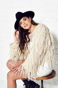 Cream Crop Shaggy Jacket