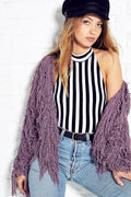 Dusty Pink Crop Shaggy Jacket