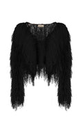 Black Crop Shaggy Jacket