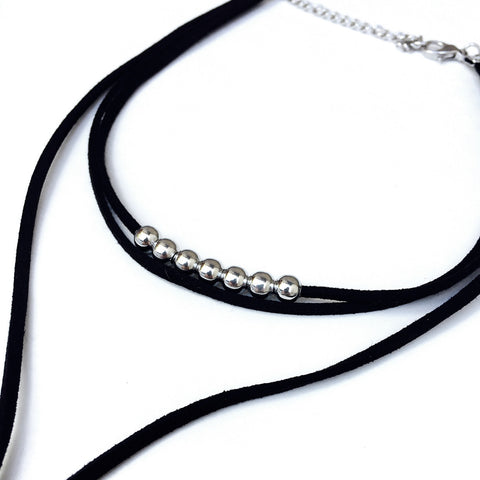 Cobia Black & Silver Leather Bohemian Choker
