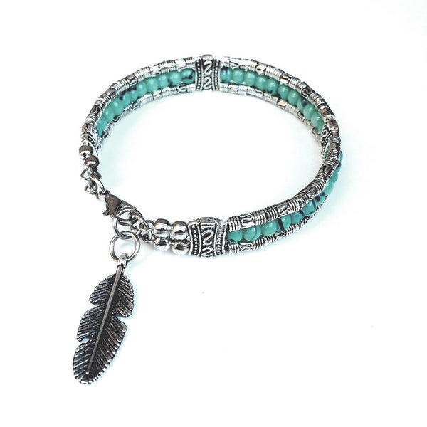 Sillago Boho Beaded Silver Feather Bracelet
