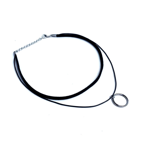 Dory Black & Silver Circles Leather Choker