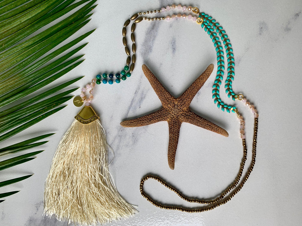 Alewife Long Tassel Beaded Necklace