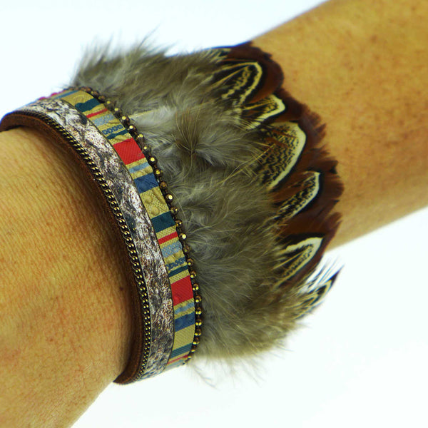 Catalufa Boho Feather Cuff Bracelet