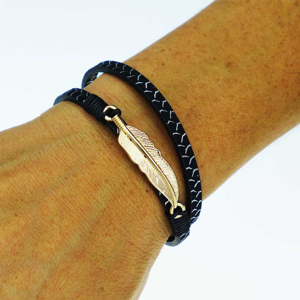 Buri Slim Bohemian Feather Bracelet