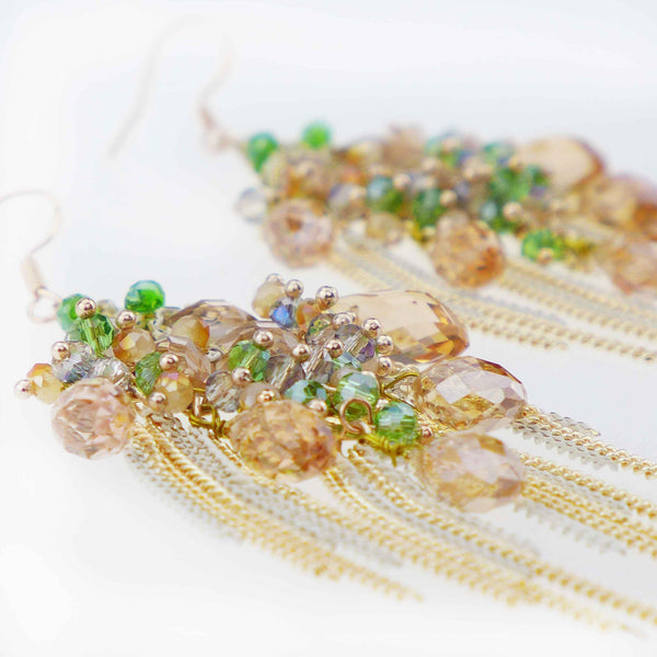 Louvar Champagne & Gold Chandelier Gypsy Earrings