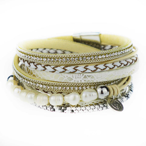 Tiger Shark Bohemian Pearl Leather Cuff