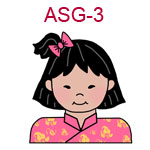 ASG-3 An Asian girl with short hair wearing a pink Chinese outfit