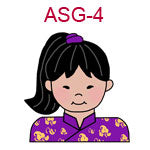 ASG-4 An Asian girl with pony tail wearing a purple Chinese outfit