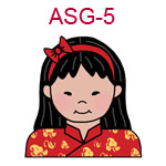 ASG-5 An Asian girl with long hair and headband wearing a red Chinese outfit