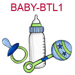 BABY-BTL1 Blue baby bottle pacifier and rattle