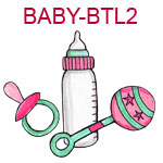 BABY-BTL2 Pink baby bottle pacifier and rattle