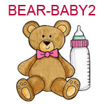 BEAR-BABY2 Brown teddy bear with pink bow and pink bottle