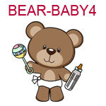 BEAR-BABY4 Brown teddy bear wearing diaper holding bottle and rattle