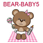 BEAR-BABY5 Girl brown teddy with pink bow bottle rattle on pink blanket