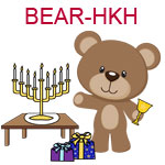 BEAR-HKH Brown teddy bear holding chalice with menorah and presents