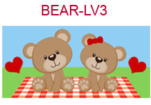 BEAR-LV3 Boy and girl bears with hearts on picnic blanket