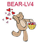 BEAR-LV4 Teddy bear throwing hearts from basket