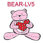 BEAR-LV5 Pink teddy bear holding red and white polka dotted heart