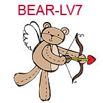 BEAR-LV7 Brown teddy bear with wings shooting heart from bow and arrow