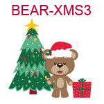 Bear with Santa hat and Christmas tree