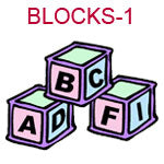 BLOCKS-1 Pink blue and green ABC building blocks
