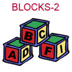 BLOCKS-2 Red green and yellow ABC building blocks