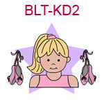 BLT-KD2 Blond fair skinned ballet girl with ballet slippers at her side