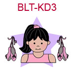 BLT-KD3 Black haired fair skinned ballet girl with ballet slippers at her side