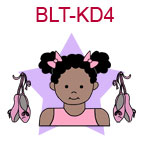BLT-KD4 Dark curly pig tails medium skinned ballet girl with ballet slippers at her side