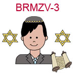BRMZV-3 Light skinned black haired teen boy wearing brown suit and yamaka torah scrolls and two stars of David