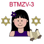 BTMZV-3 Teen black haired girl in black tank top with flower in hair torah scrolls and two stars of David