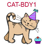 CAT-BDY1 Brown cat wearing purple birthday hat sitting next to blue cupcake
