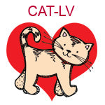 CAT-LV  Tan cat on red heart
