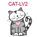 CAT-LV2 Gray and white cat, pink heart on chest