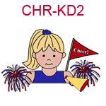 CHR-KD1 A fair skinned brown haired cheer leading girl wearing a blue top holding a megaphone flag and pom poms