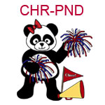 CHR-PND Cheer leading girl panda with pompoms megaphone and flag