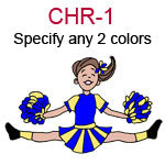 CHR-1 Fair skinned brown haired jumping cheer leading girl with pompoms  Specify any two colors for outfit