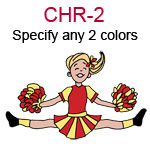 CHR-2 Fair skinned blond jumping cheer leading girl with pompoms  Specify any two colors for outfit